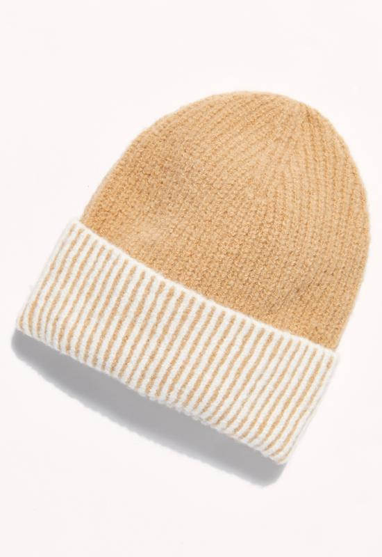 Free People - Straight Chill Ribbed Beanie Ivory/ Camel