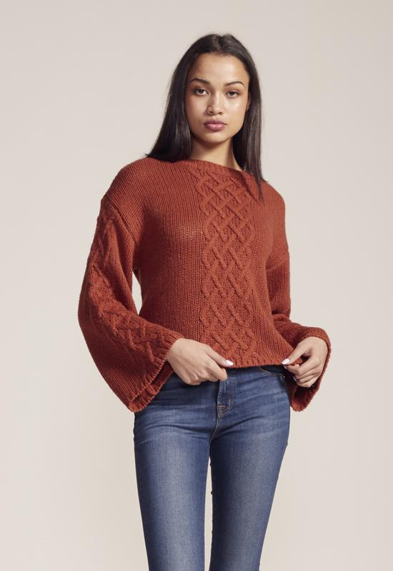 BB Dakota - Retro Active Rust Bell Sleeve Sweater