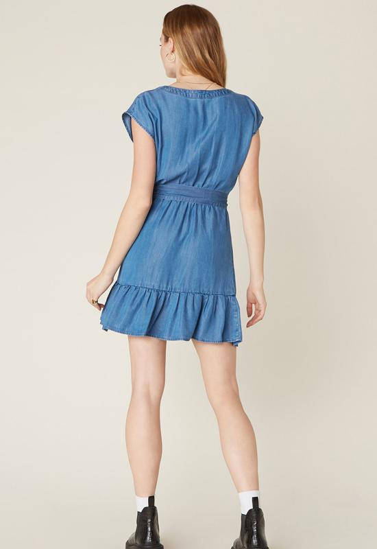 BB Dakota - Into the Indigo Medium Blue Ruffle Mini Dress