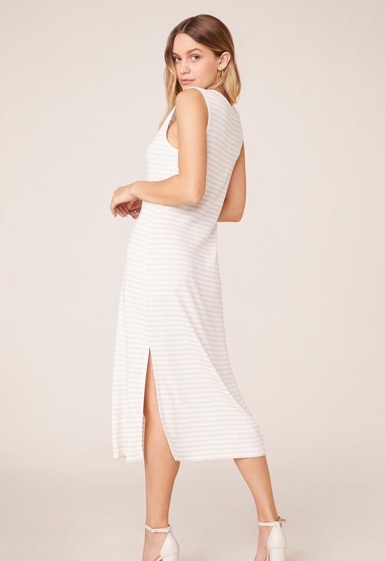 BB Dakota - French Toast Heather Oatmeal Side Slit Midi Dress