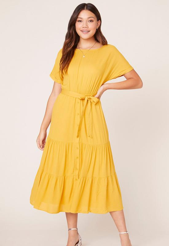 BB Dakota - Canary Yellow Sundown Midi Dress