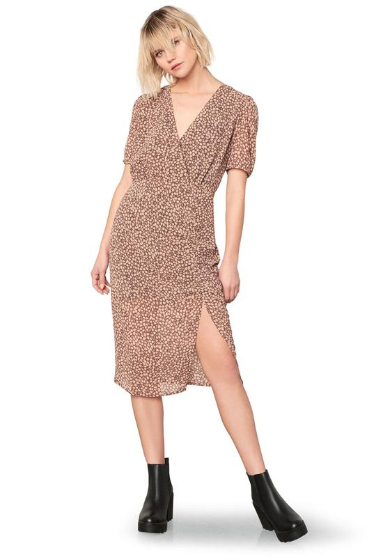 BB Dakota - Dusky Business Amber Multi Print Side Slit Skinny Dress