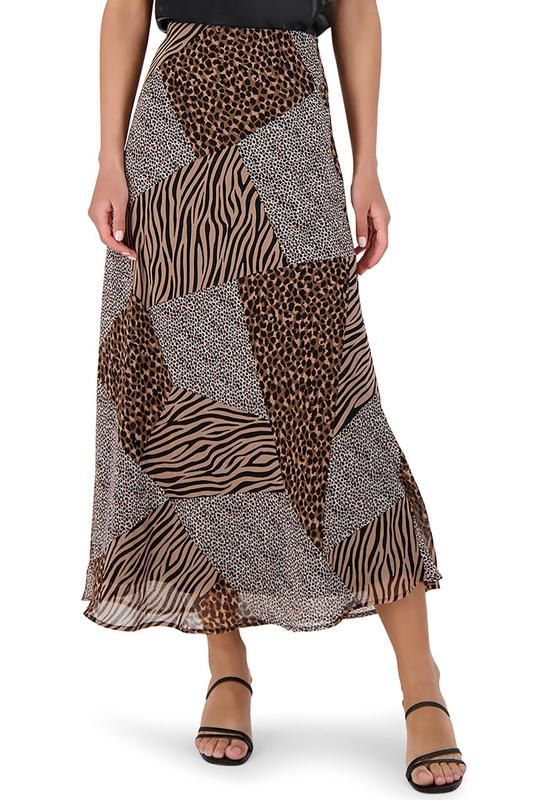BB Dakota - She's A Wild One Brown Multi Maxi Skirt