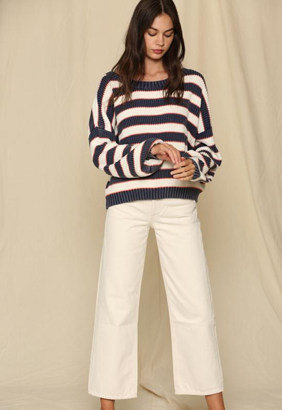 Kixters - Navy/White/Red Horizontal Stripe Cotton Knit Top