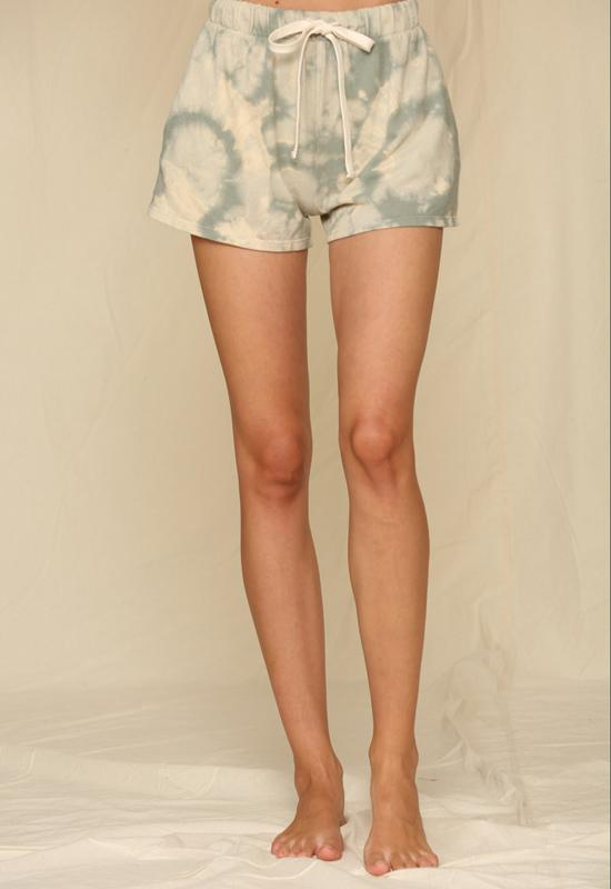 Knit Hacci Tie Dye Shorts Olive Taupe
