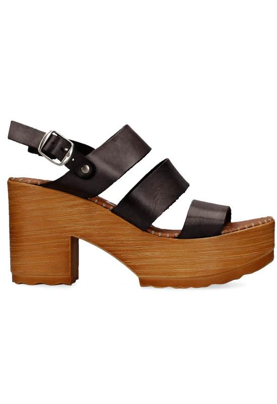 Musse & Cloud Frisca - Black Leather Triple Band Clog Sandal