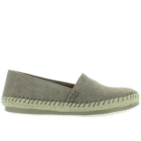 Adam Tucker Remi - Stone Snake Embossed Suede Slip-On Espadrille Loafer
