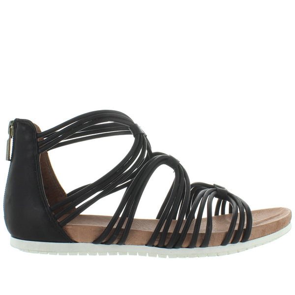 Adam Tucker Shana - Black Leather Gladiator Footbed Sandal
