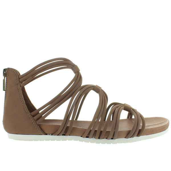 Adam Tucker Shana - Rosewood Leather Gladiator Footbed Sandal