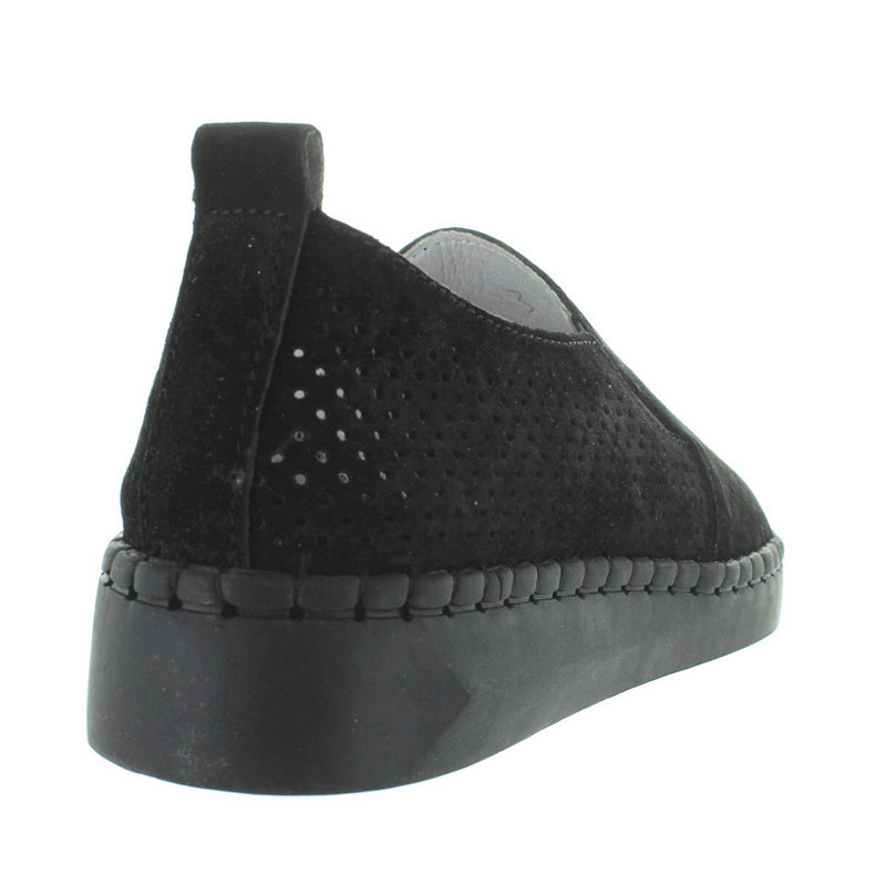 B. Mev TW98 - Black Perforated Suede Slip-On Wedge Sneaker