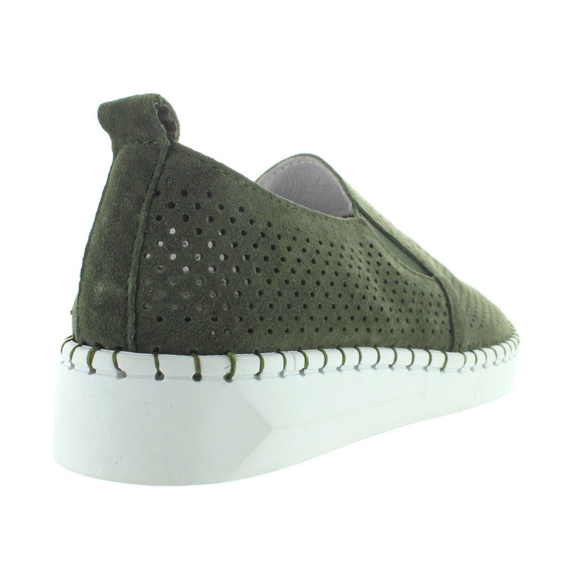 B. Mev TW98 - Moss Perforated Suede Slip-On Wedge Sneaker