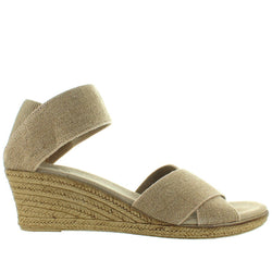 Charleston Shoe Cannon - Linen Elasticized Crisscross Wedge Espadrille Sandal
