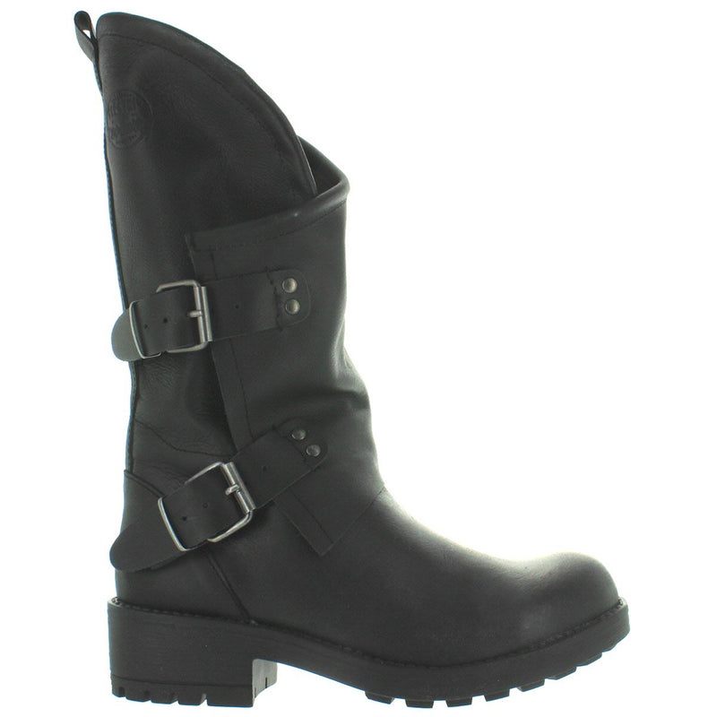 Coolway Cookie - Black Leather Dual Buckle Boot