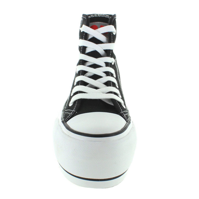 Coolway Rizzo - Black Canvas High Top Mega Platform Lace Sneaker