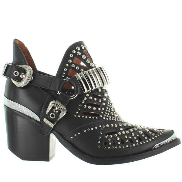 Jeffrey Campbell Calhoun 4 - Black Leather/Silver Hardware Dual Buckle Studded Western Bootie