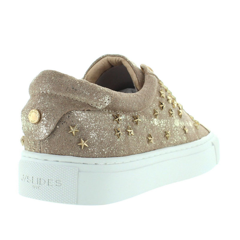 JSlides Liberty - Gold Metallic Leather Star-Studded Lace Platform Sneaker