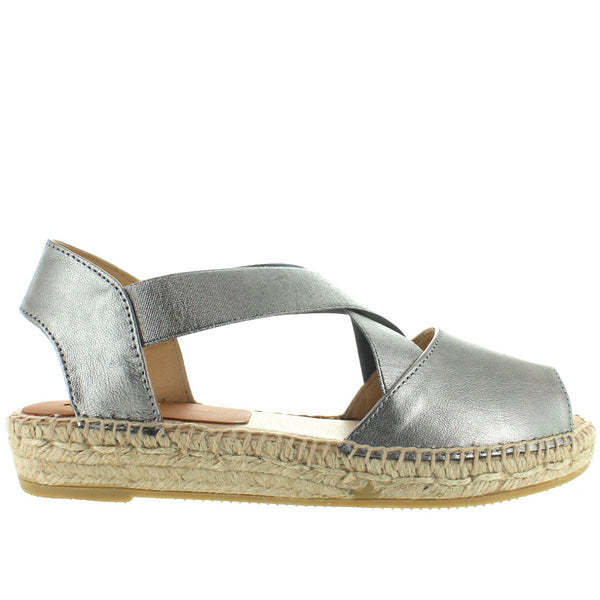 Kanna 4361 - Galaxy Acero Leather Elasticized Crisscross PlatformWedge Espadrille Sandal
