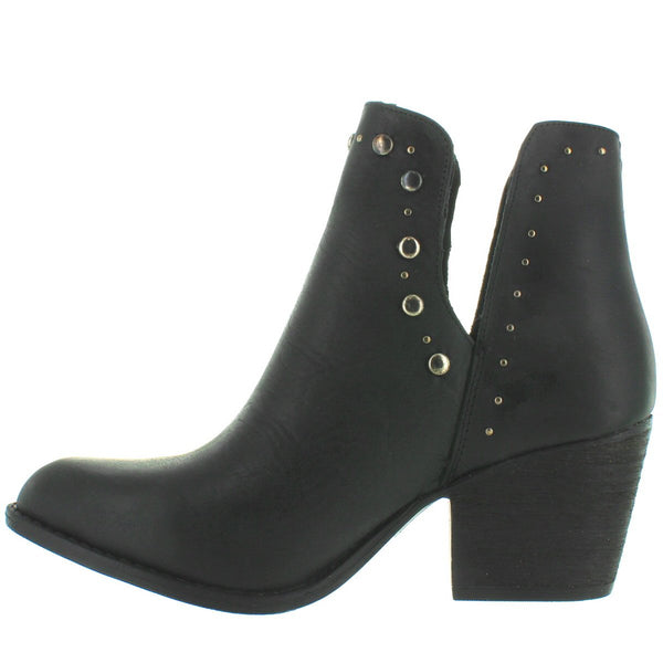 Musse & Cloud Aster - Black Leather Studded Western Bootie