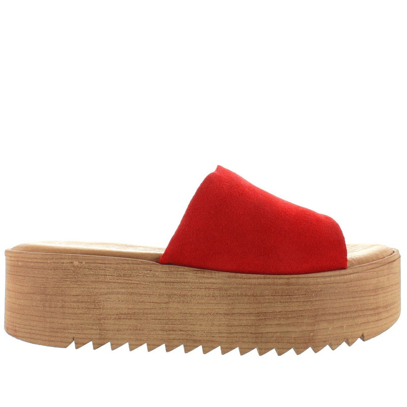 Musse & Cloud Kendria - Red High Platform Slide Sandal