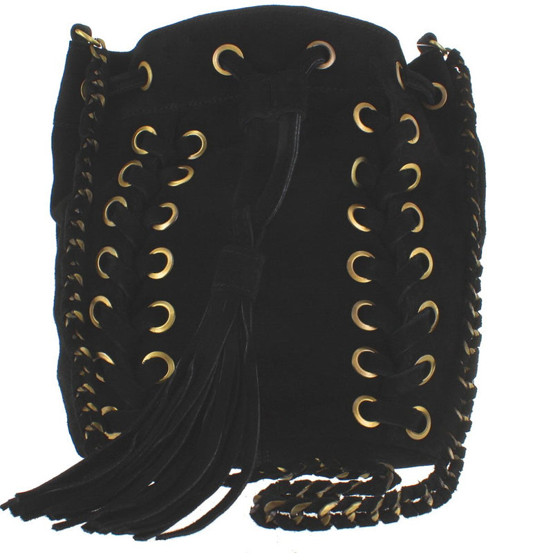 Musse & Cloud Nirvy - Black Suede Tassel Bucket Shoulder Bag