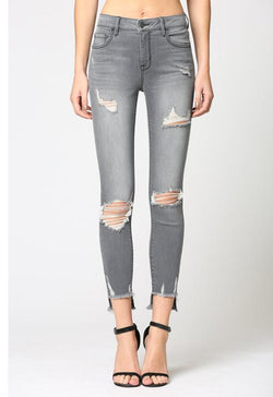 Hidden Jeans - Grey Denim Amelia Mid Rise Destructed Skinny Jeans