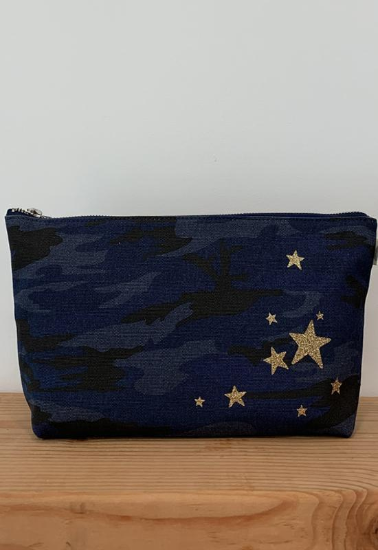 Quilted Koala - Clutch Bag Dark Blue Camo with Scattered Stars