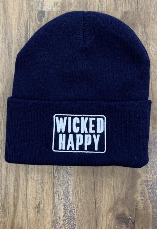 WICKED HAPPY WCLSBC1001 WEST COAST LOGO BEANIE NAVY - WCLSBC1001-WICKED HAPPY