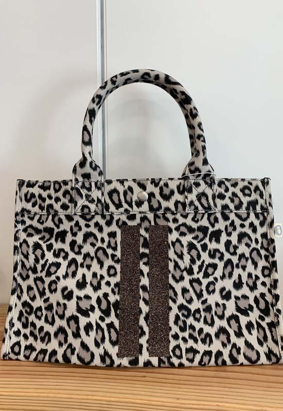 Quilted Koala - Midi East West Leopard Bag with Two Chocolate Glitter Stripes