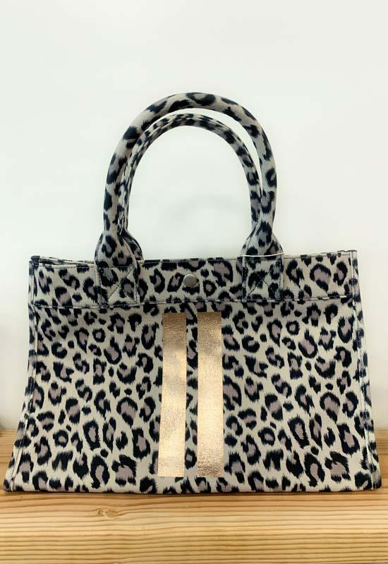 Quilted Koala - Midi East West Leopard Bag with Two Gold Stripes