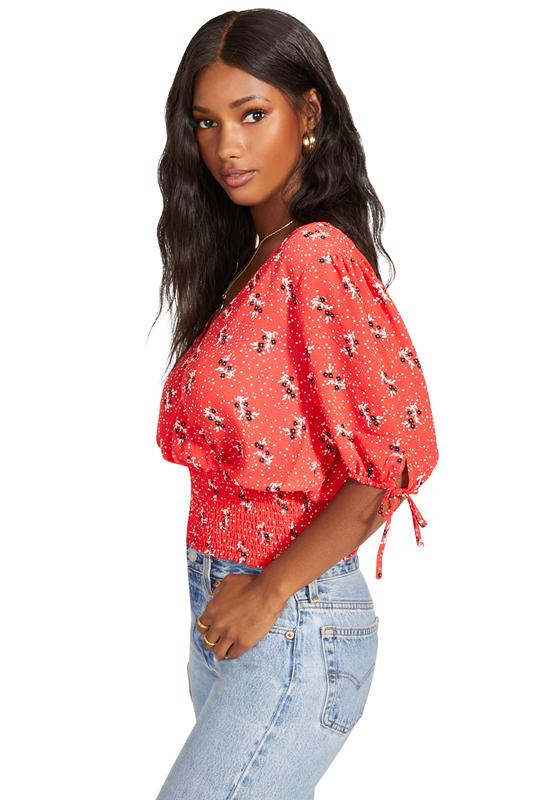 Jack - Coral Print Smock Show Top