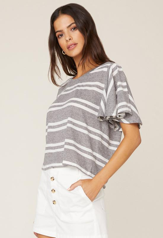 Jack - Light Heather Grey/Off White Draw The Linen Stripe Top