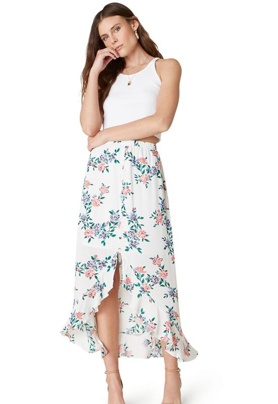 Jack - Ivory Multi Floral Full Bloom Ruffle Bottom Midi Skirt
