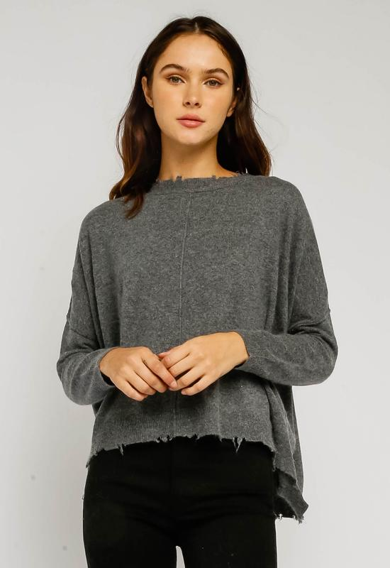 Kixters - Grey Long Sleeve Raw Edge Top