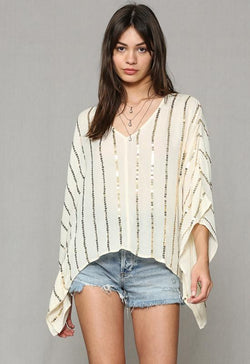 Kixters - Ivory Gauze Gold Sequin Vertical Stripe Top