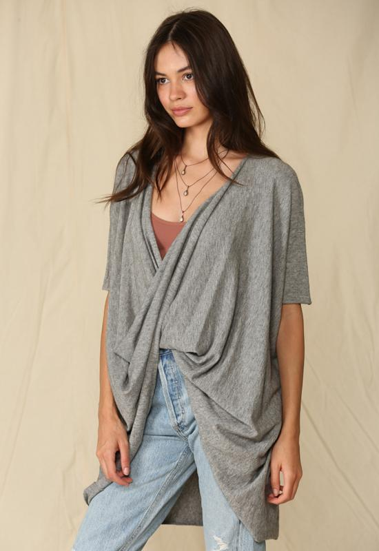 Knit Sweater Twisted Tunic Top Grey