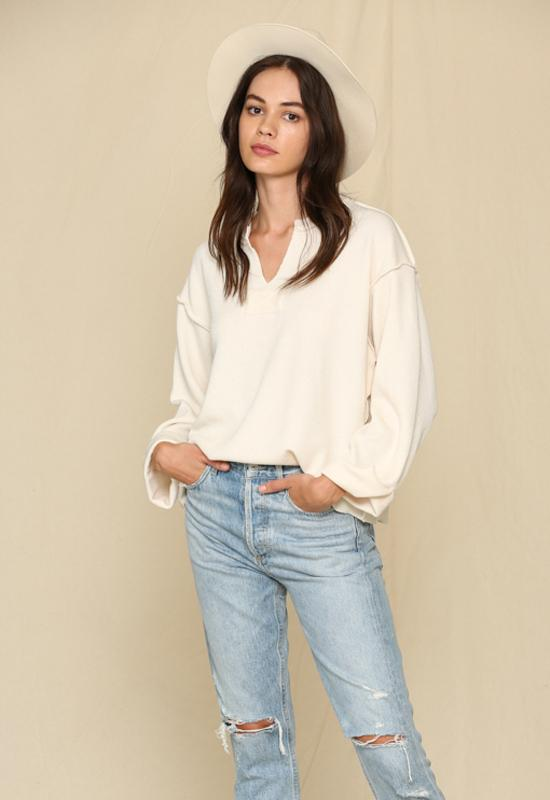 Kixters - Cream Long Sleeve Chunky Loose Top