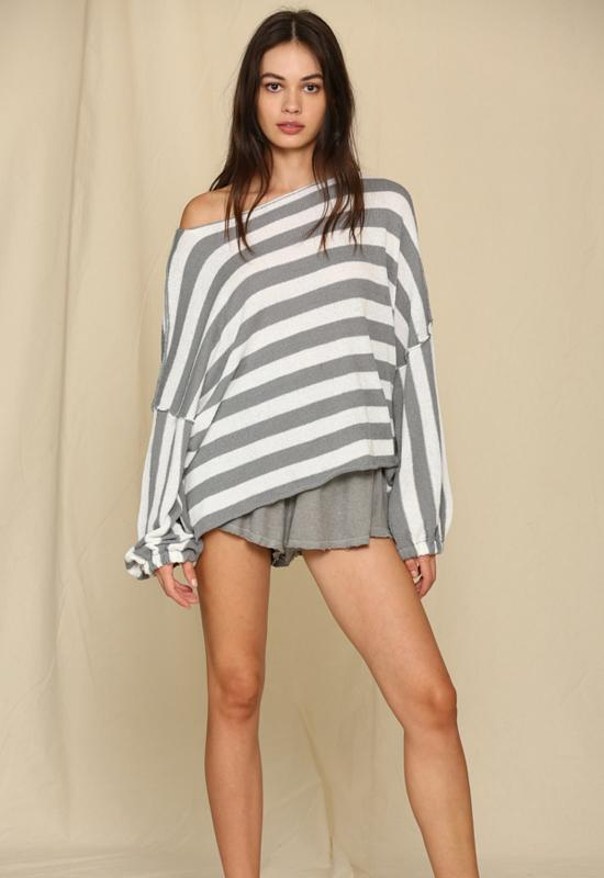 Long Sleeve Knit Sweater Striped Oversized Top Dusty Blue White