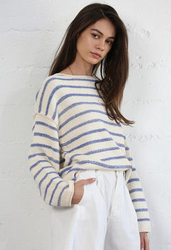 Knit long Sleeve Sweater - Cream with Blue Stripes