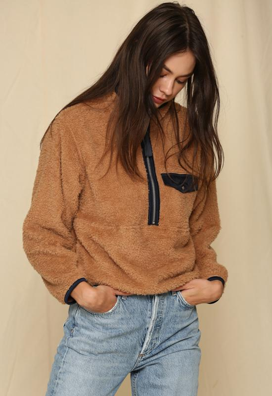 Oversized Woven Side Pocket Jacket Brown