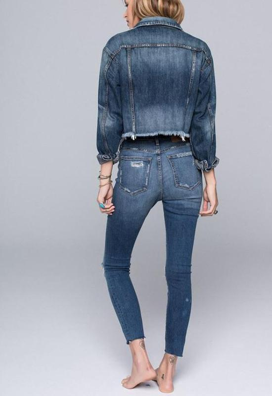 Band Of Gypsies - Medium Blue Distressed Denim Hi Rise Destructed Jeans