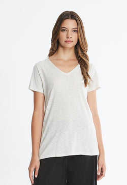 Kixters Malibu - White Short Sleeve V Neck Top