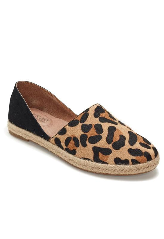 Adam Tucker Sunny - Jaguar Printed Hair/Black Suede Espadrille Loafer