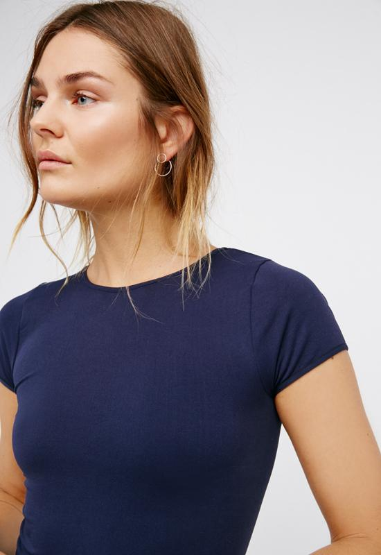 Free People - Cap Sleeve Seamless Crop Navy