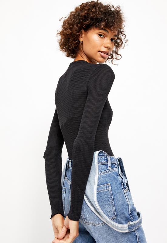 Free People - One Of The Girls Henley Black