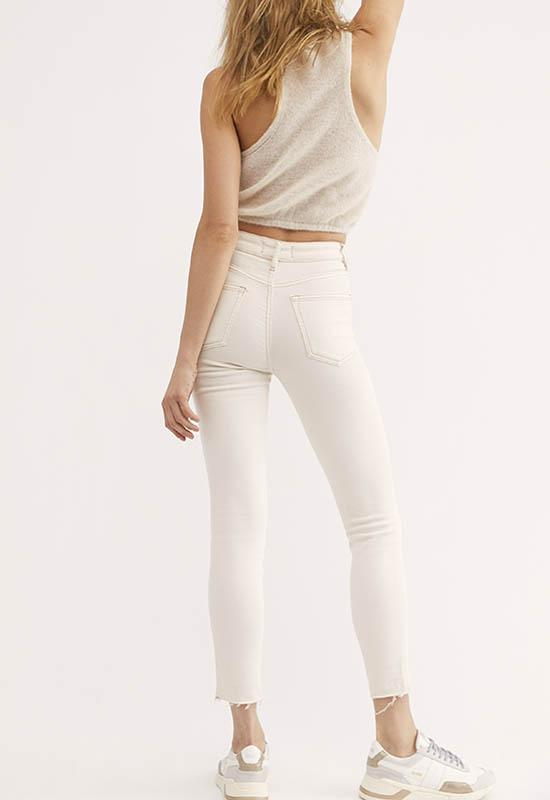 Free People - Ivory Raw High Rise Jeggings