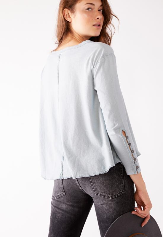 Free People - Polar Fog Peony Button Sleeve Tee Shirt