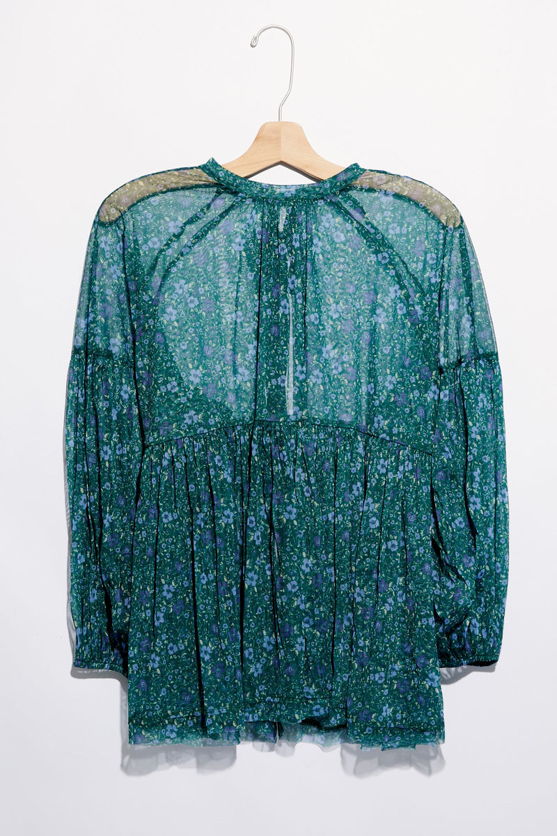 Free People - Emerald Multi Sheer Sweet Heart Top