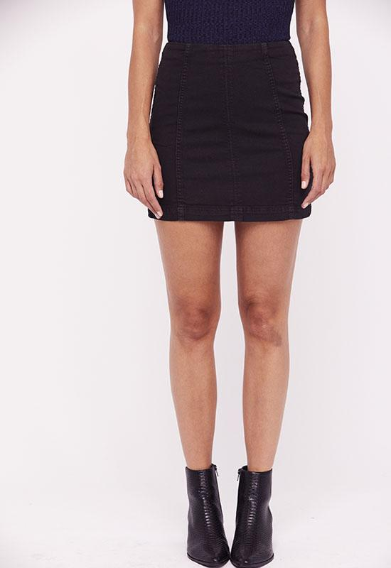 Free People - Modern Femme Black Denim Mini Skirt