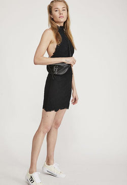 Free People - Black Harper High Neck Mini Slip Dress