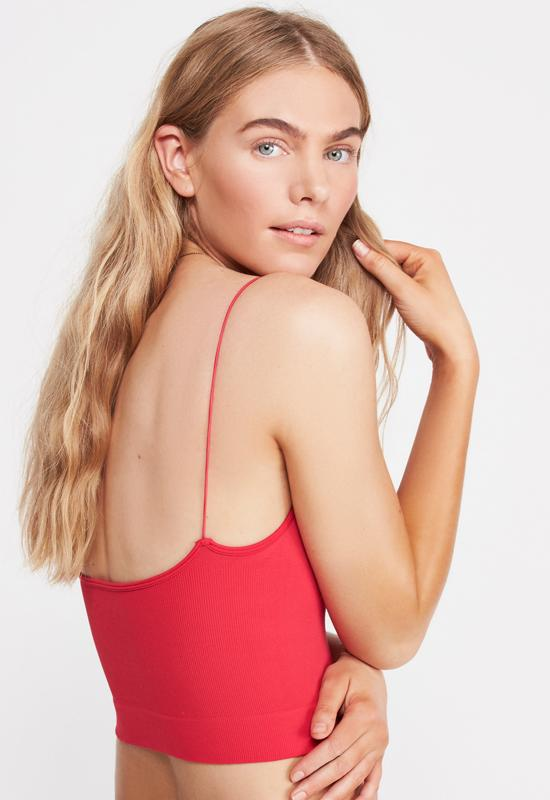 Free People - Ribbed V-Neck Brami Cherry Red